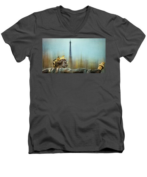 Eiffel Tower 1 Men's V-Neck T-Shirt by Marty Garland