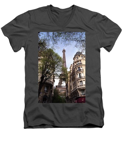 Men's V-Neck T-Shirt featuring the photograph Eiffel Tower 2b by Andrew Fare