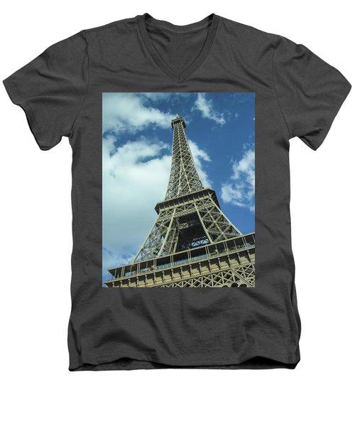 Men's V-Neck T-Shirt featuring the photograph Eiffel Tower by Allen Sheffield
