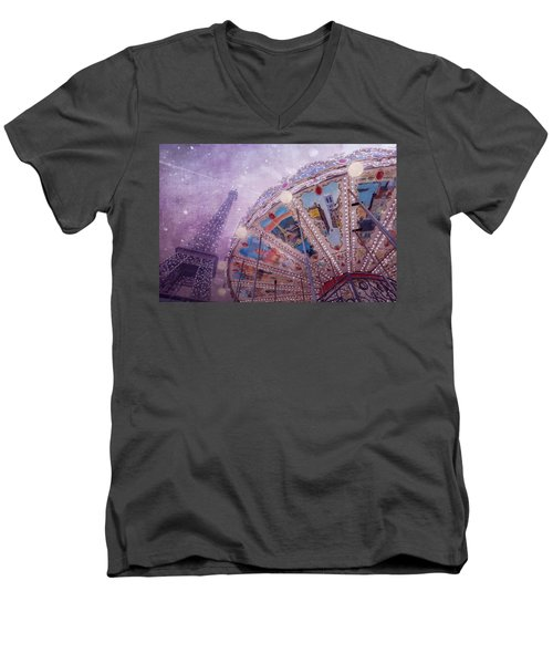 Men's V-Neck T-Shirt featuring the photograph Eiffel Tower And Carousel by Clare Bambers