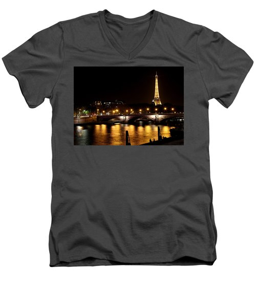 Men's V-Neck T-Shirt featuring the photograph Eiffel Tower At Night 1 by Andrew Fare