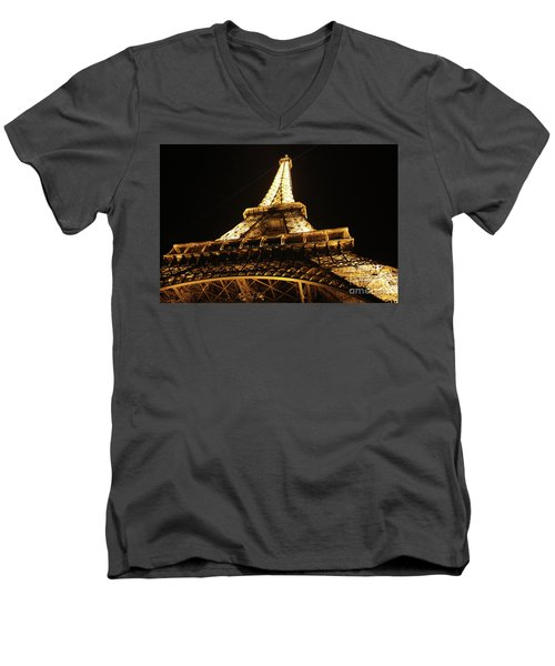 Men's V-Neck T-Shirt featuring the photograph Eiffel Tower At Night by MGL Meiklejohn Graphics Licensing