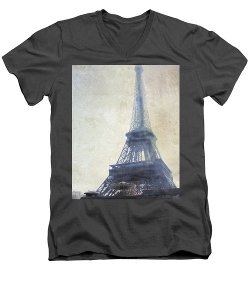 Eiffel Tower Men's V-Neck T-Shirt by Catherine Alfidi
