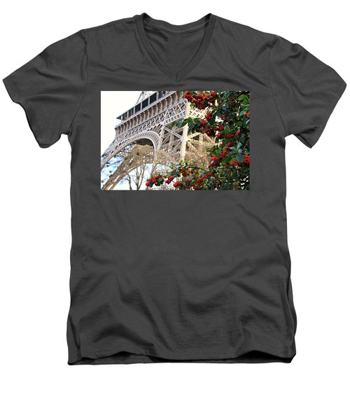 Eiffel Tower In Winter Men's V-Neck T-Shirt by Katie Wing Vigil
