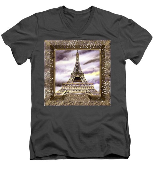 Men's V-Neck T-Shirt featuring the painting Eiffel Tower Laces Iv  by Irina Sztukowski