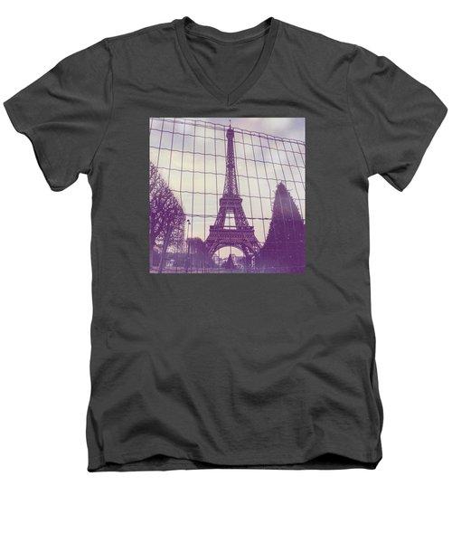 Eiffel Tower Through Fence Men's V-Neck T-Shirt by Aurella FollowMyFrench