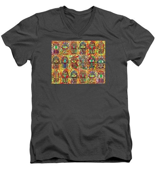 -eighteen Vintage Chai Hamsas Men's V-Neck T-Shirt