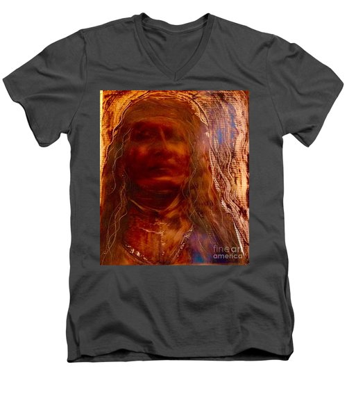 Men's V-Neck T-Shirt featuring the painting Wisdomkeepers by FeatherStone Studio Julie A Miller