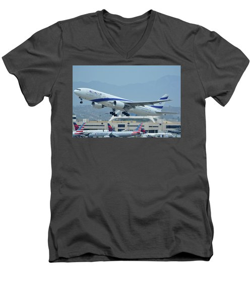 Men's V-Neck T-Shirt featuring the photograph El Al Boeing 777-258er 4x-ece Los Angeles International Airport May 3 2016 by Brian Lockett