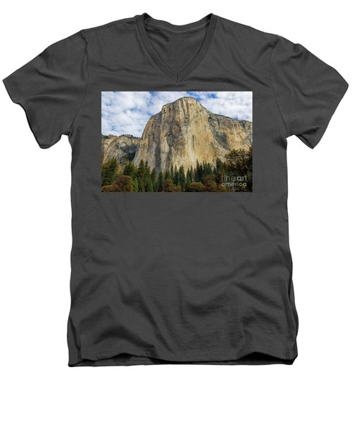 Men's V-Neck T-Shirt featuring the photograph El Cap #2 by Vincent Bonafede