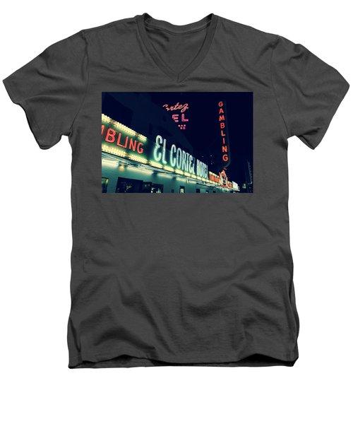 El Cortez Hotel At Night Men's V-Neck T-Shirt