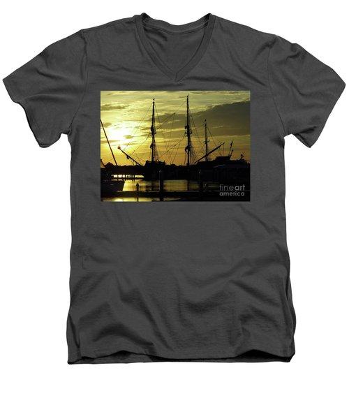 El Galeon Sunrise Men's V-Neck T-Shirt by D Hackett