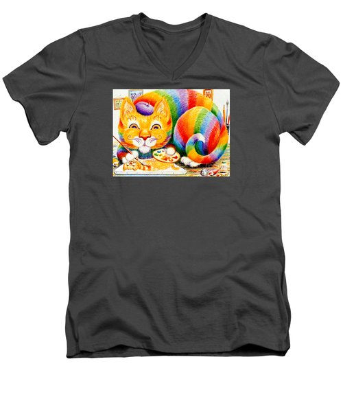 el Gato Artisto Men's V-Neck T-Shirt by Dee Davis