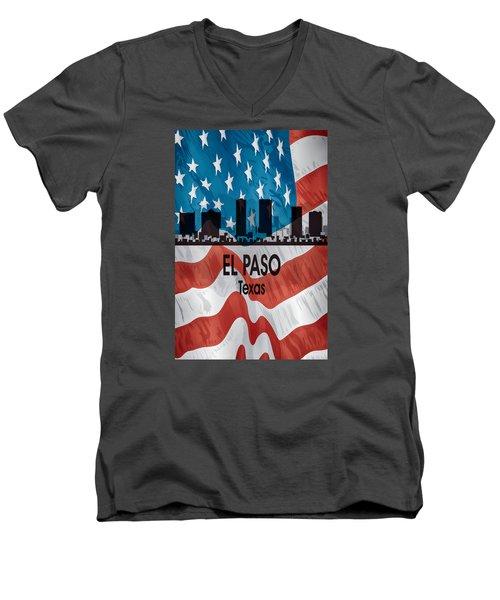 El Paso Tx American Flag Vertical Men's V-Neck T-Shirt by Angelina Vick