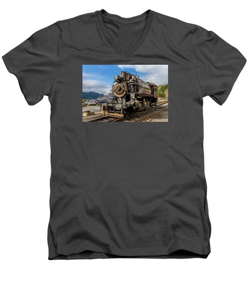 Men's V-Neck T-Shirt featuring the photograph Elbe Steam Engine 17 - 2 by Rob Green