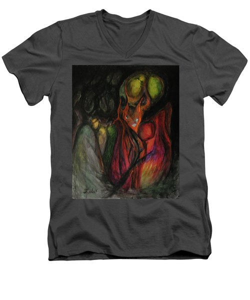Men's V-Neck T-Shirt featuring the painting Elder Keepers by Christophe Ennis