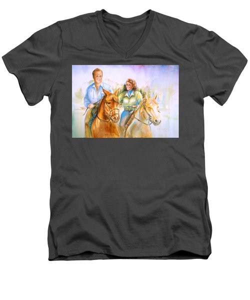 Men's V-Neck T-Shirt featuring the painting Eleanor And George by Patricia Schneider Mitchell