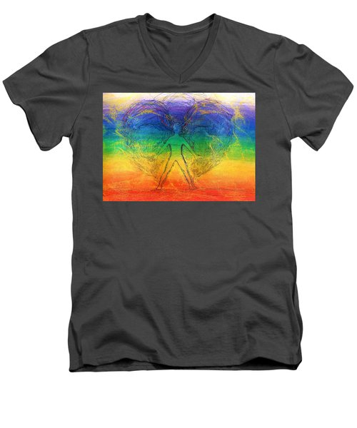 Men's V-Neck T-Shirt featuring the mixed media Electric Angel by Denise Fulmer