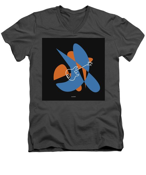 Electric Bass In Blue Men's V-Neck T-Shirt by David Bridburg