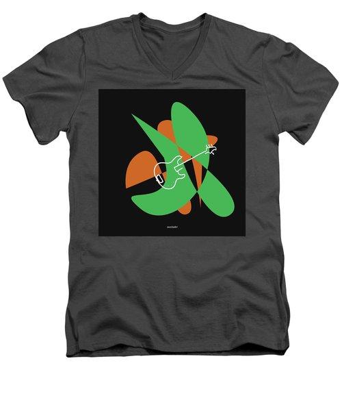 Electric Bass In Green Men's V-Neck T-Shirt by David Bridburg