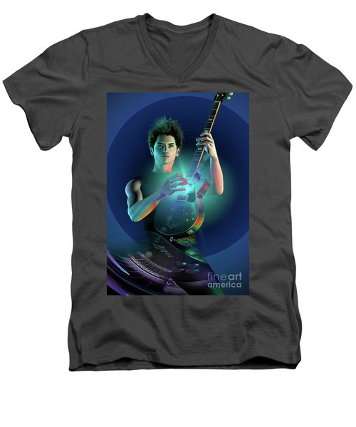 Electric Blue Men's V-Neck T-Shirt by Shadowlea Is