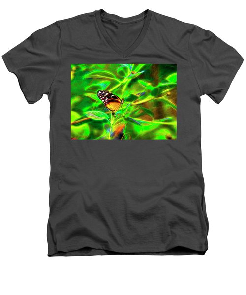 Men's V-Neck T-Shirt featuring the digital art Electric Butterfly by James Steele