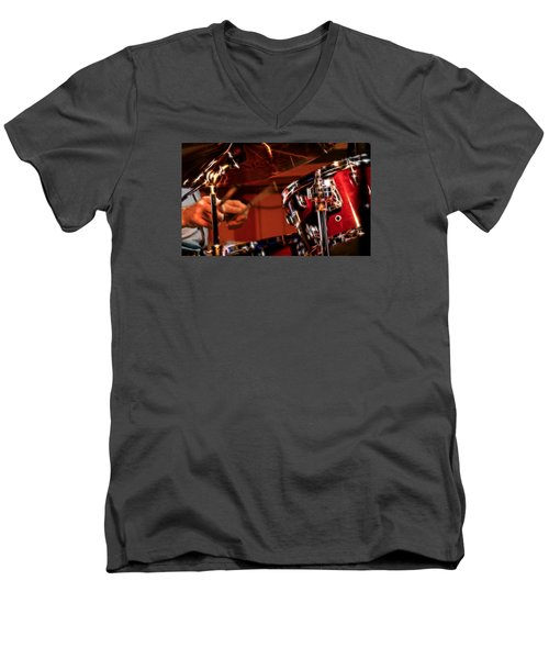 Men's V-Neck T-Shirt featuring the photograph Electric Drums by Cameron Wood