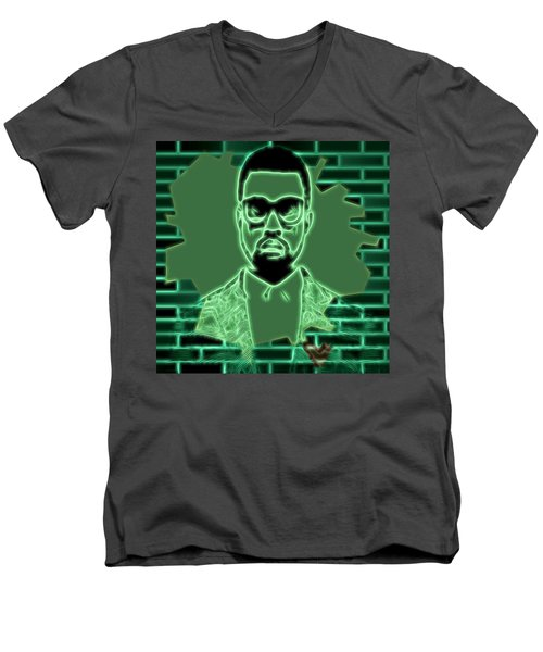 Electric Kanye West Graphic Men's V-Neck T-Shirt by Dan Sproul