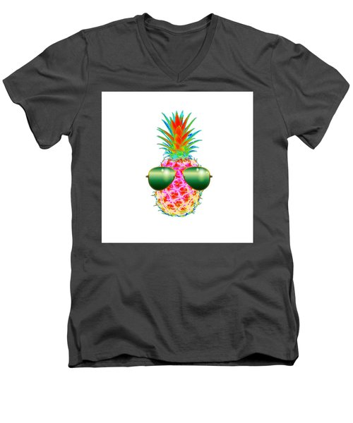 Electric Pineapple With Shades Men's V-Neck T-Shirt