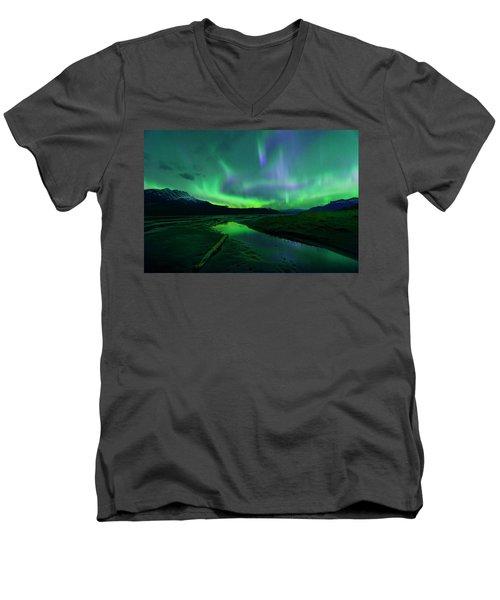 Electric Skies Over Jasper National Park Men's V-Neck T-Shirt by Dan Jurak