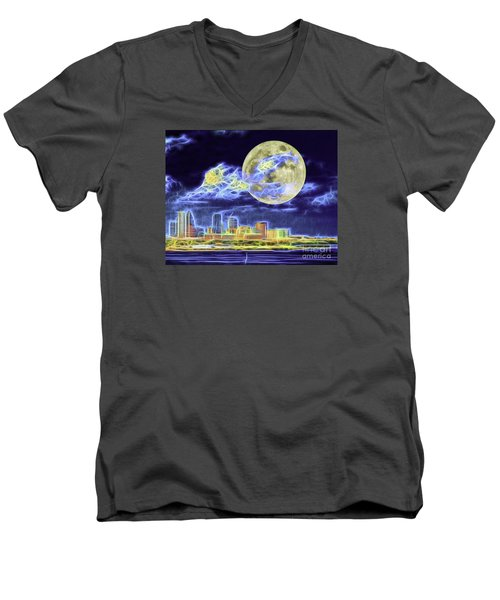 Electric Tampa Men's V-Neck T-Shirt by Ken Frischkorn