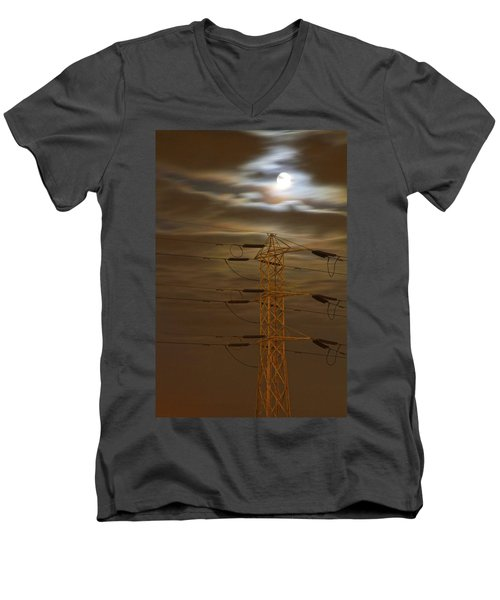 Electric Tower Under Supermoon Men's V-Neck T-Shirt