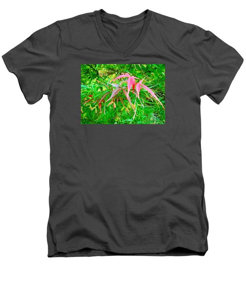Men's V-Neck T-Shirt featuring the painting Elegance by Angela Annas