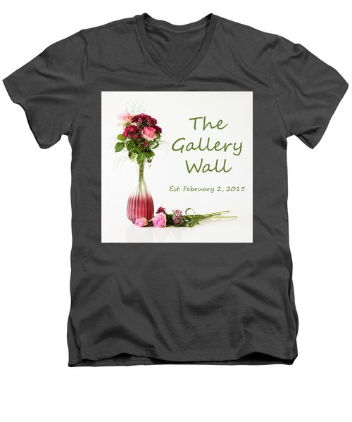 Men's V-Neck T-Shirt featuring the photograph Elegance-the Gallery Wall Logo by Wendy Wilton