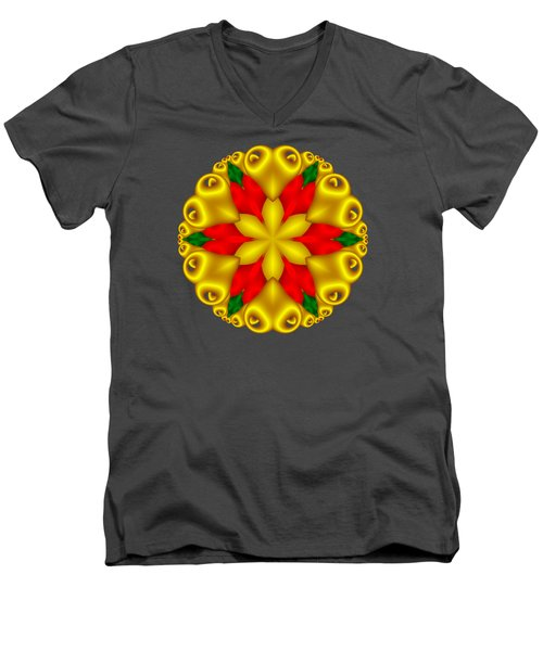 Elegant Christmas Poinsettia With Hearts  Men's V-Neck T-Shirt