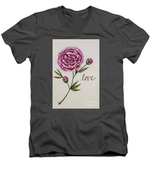 Men's V-Neck T-Shirt featuring the painting Elegant Love by Elizabeth Robinette Tyndall