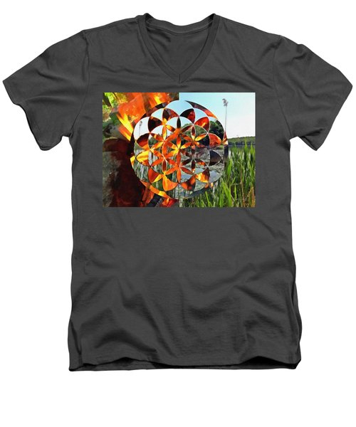 Men's V-Neck T-Shirt featuring the digital art Elements Of Life by Derek Gedney