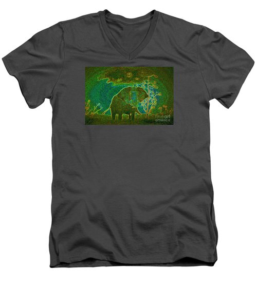 Men's V-Neck T-Shirt featuring the painting Elephant Abstract by John Stuart Webbstock