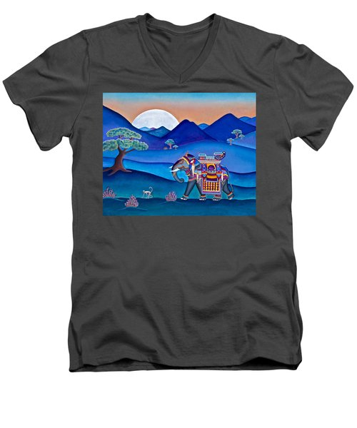 Elephant And Monkey Stroll Men's V-Neck T-Shirt