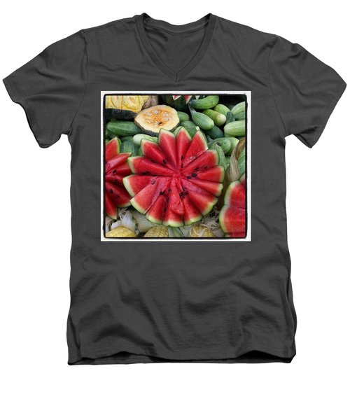 Men's V-Neck T-Shirt featuring the photograph Elephant Buffet #whatiloveaboutthailand by Mr Photojimsf