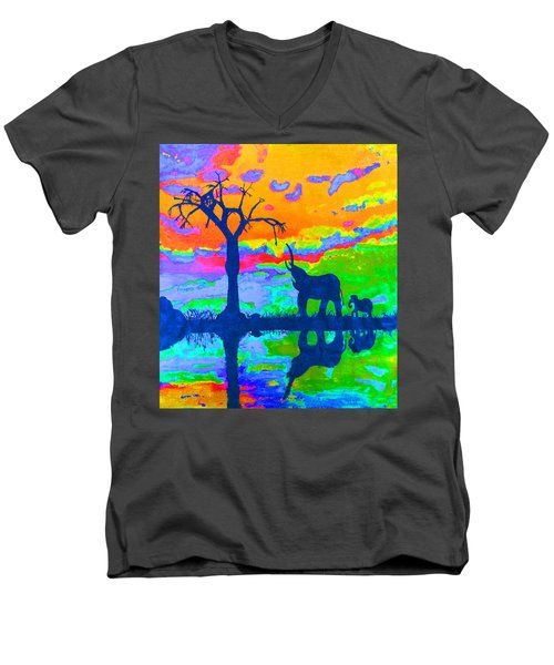 Elephant Reflections Men's V-Neck T-Shirt
