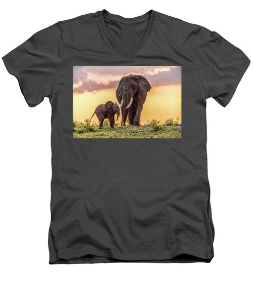Men's V-Neck T-Shirt featuring the photograph Elephants At Sunset by Janis Knight