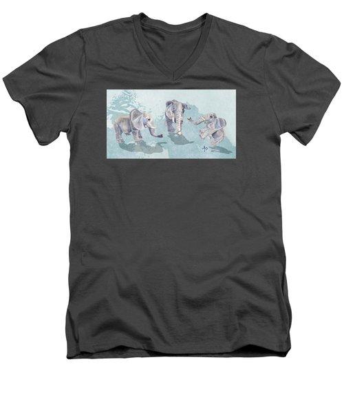 Elephants In Blue Men's V-Neck T-Shirt by Angeles M Pomata