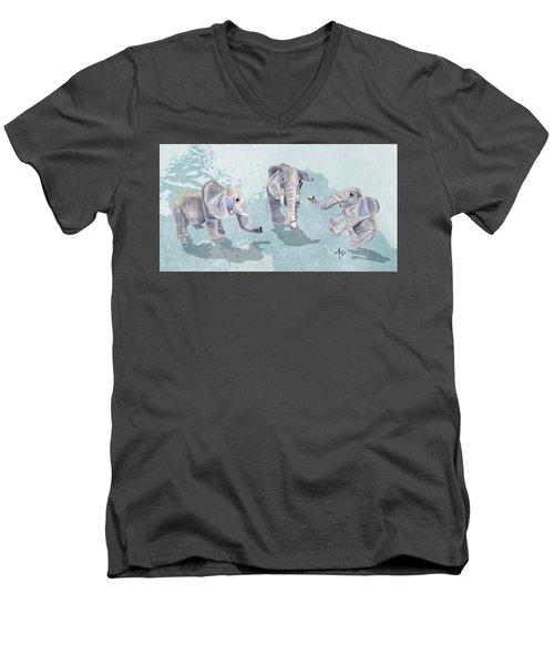 Elephants In Blue Men's V-Neck T-Shirt