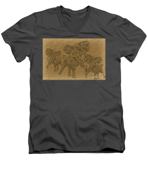 Elephants Three Men's V-Neck T-Shirt