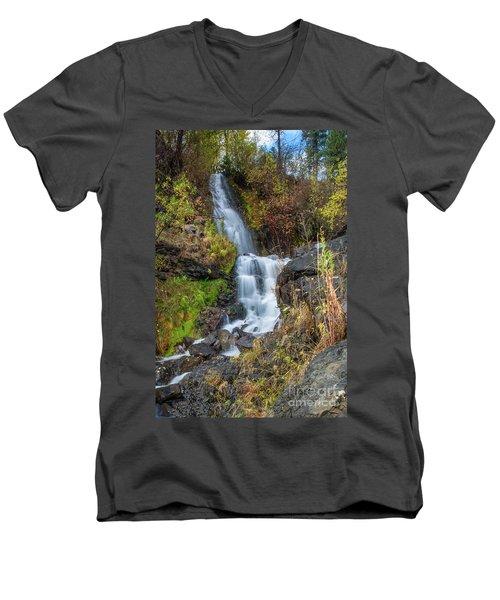 Elk Creek Waterfall Waterscape Art By Kaylyn Franks Men's V-Neck T-Shirt