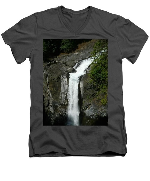Men's V-Neck T-Shirt featuring the painting Elk Falls  by 'REA' Gallery
