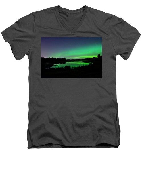 Elk Island Aurora Reflections Men's V-Neck T-Shirt