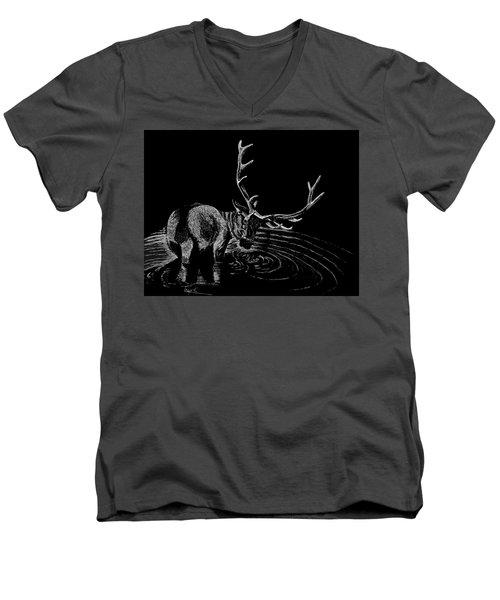 Elk Men's V-Neck T-Shirt by Lawrence Tripoli