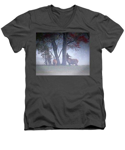 Elk Neck Scratch Men's V-Neck T-Shirt by Lamarre Labadie